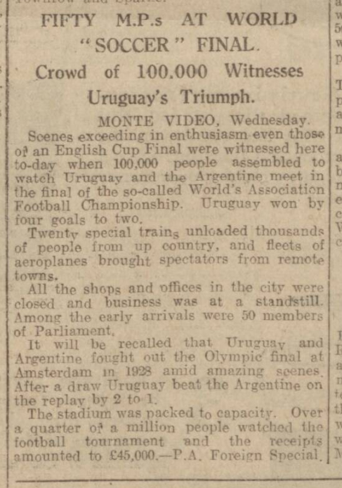 historical newspaper report about Uruguay Wins the First World Cup - 30 July 1930