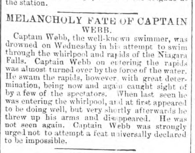 historical newspaper report about The Drowning of Captain Webb at Niagara Falls