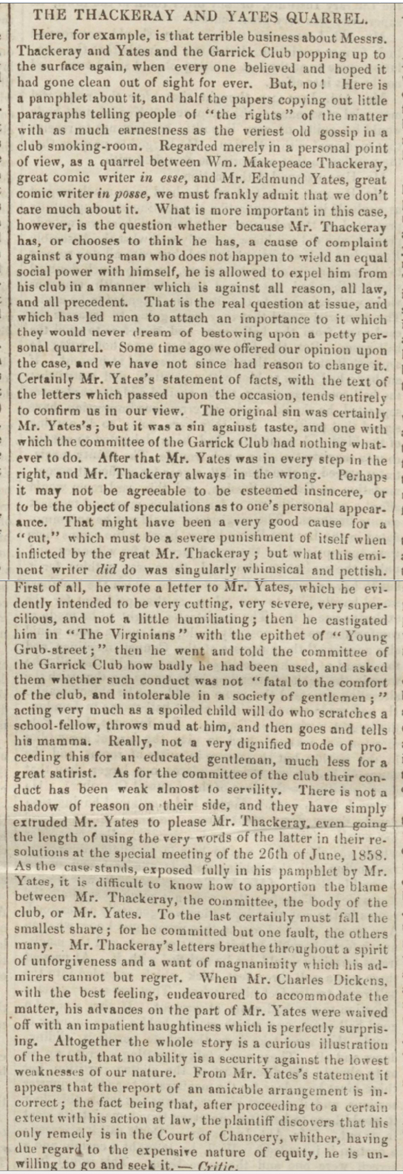 historical newspaper reports about William Makepeace Thackeray