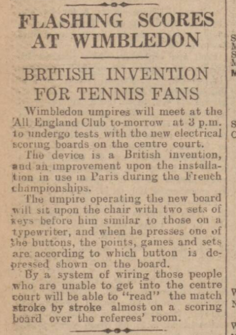 historical newspaper report about the arrival of the electronic scoreboard on Centre Court in 1929