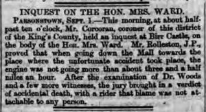 Dublin Evening Mail inquest of Mary Ward's datehr 1869