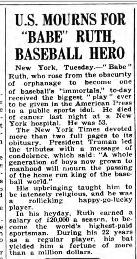 historical newspaper report on the death of babe ruth
