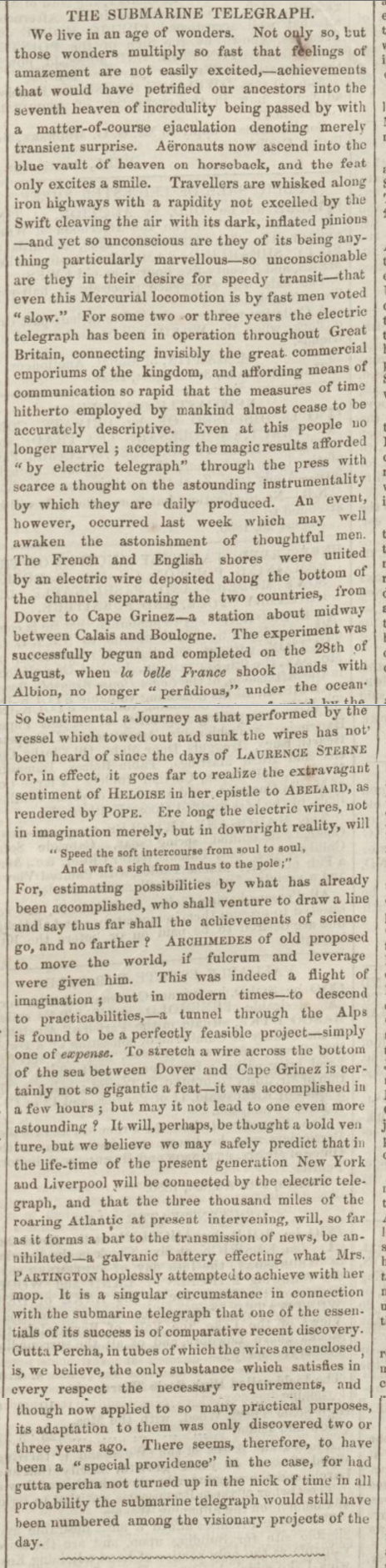 historical newspaper report on The Submarine Telegraph Between England and France - 28 August 1850