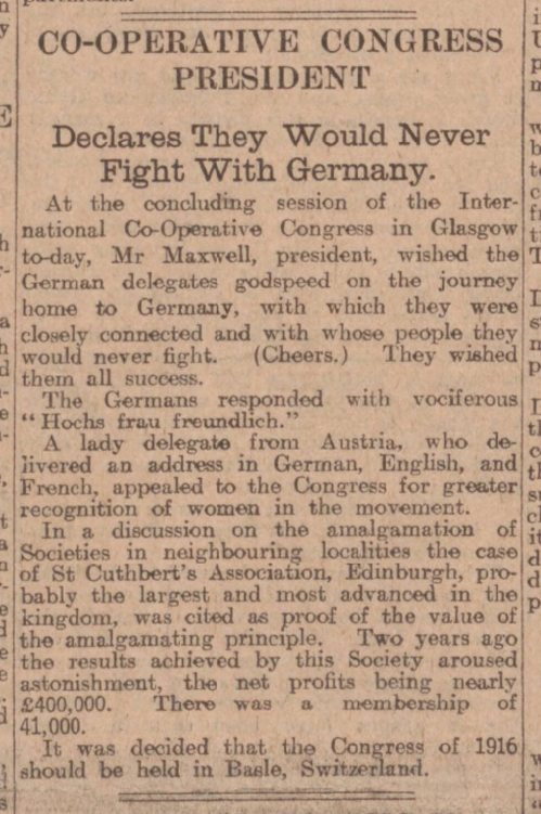 historical newspaper report on The UK would never fight a war with Germany