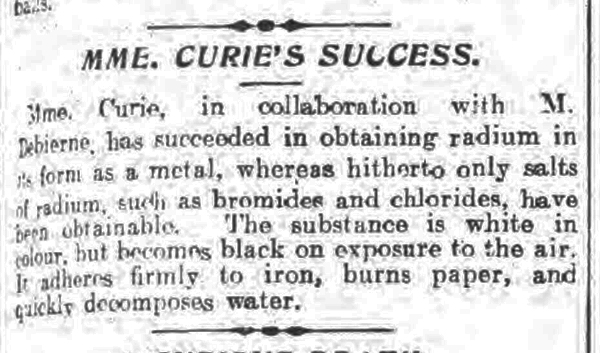 historical newspaper report on Marie Curie Isolates Pure Radium Metal