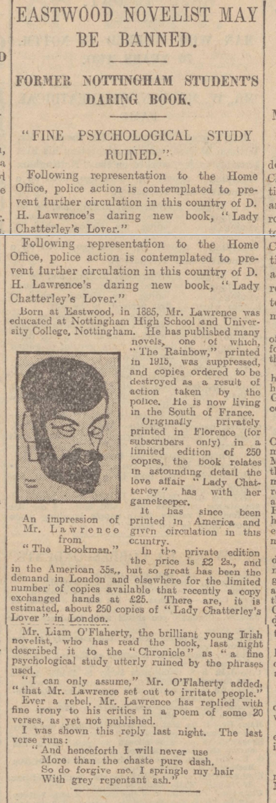 historical newspaper report on D.H. Lawrence, Born on 11 September 1885 - the Banning of lady chatterley's lover
