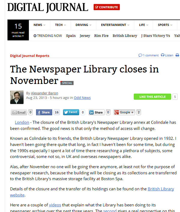 historical newspaper report on The Newspaper Library at Colindale Closes in November 2013