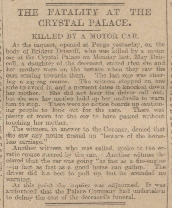 Historical newspaper report on Bridget Driscoll: the First Pedestian Fatality in a Car Accident in the UK