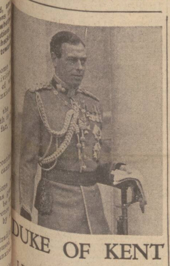 historical newspaper report on The Duke of Kent Is Killed in an Air Crash in Scotland
