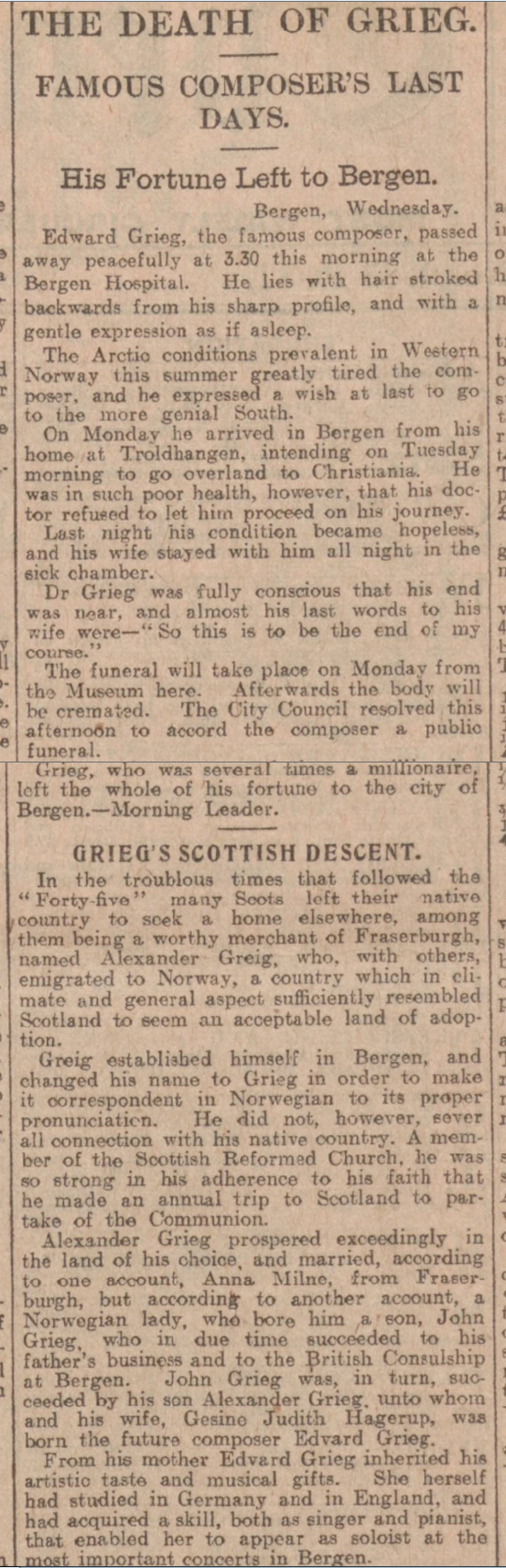 historical newspaper report on The Death of Edvard Grieg and His Scottish Ancestry