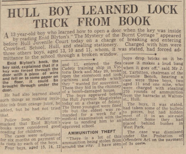 historical newspaper report on How the Writings of Enid Blyton Inspired Three Likely Lads from Hull