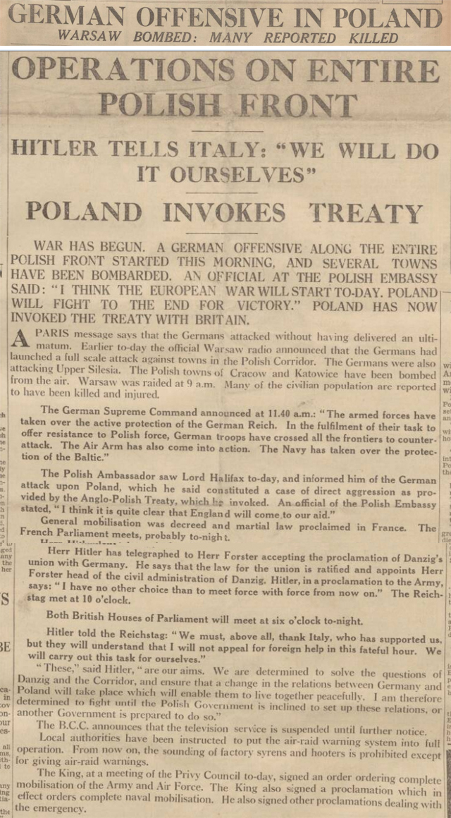 historical newspaper report on Nazi Germany Invades Poland - 1 September 1939