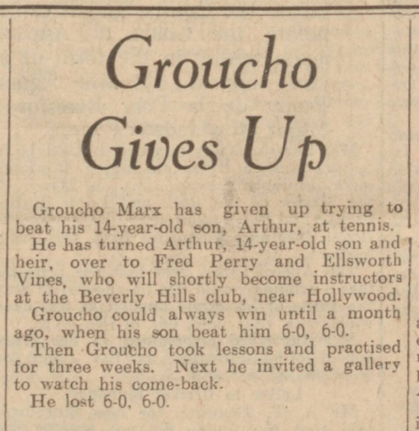 historical newspaper report about Groucho Marx