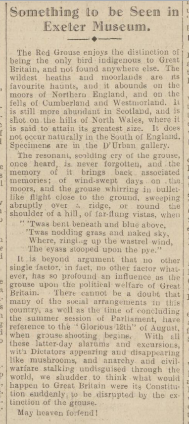 historical newspaper report on The Glorious 12th - the Start of the Grouse-Shooting Season