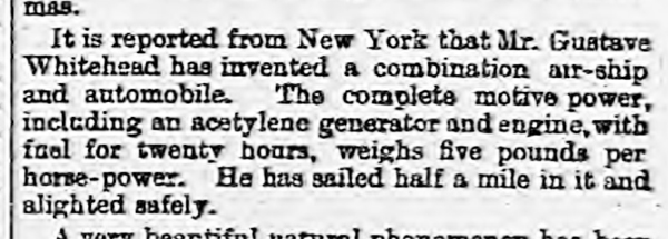 historical newspaper report on The First Claimed Powered Flight - Gustave Whitehead