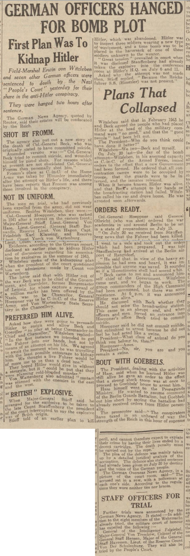 historical newspaper report on the The Plot to Assassinate Hitler