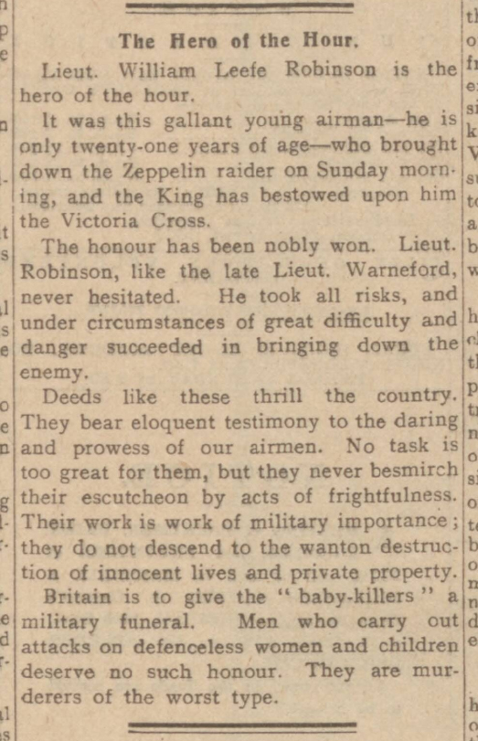 historical newspaper report on The Zeppein Raid on England and the Heroics of Leefe Robinson - 3 September 1916