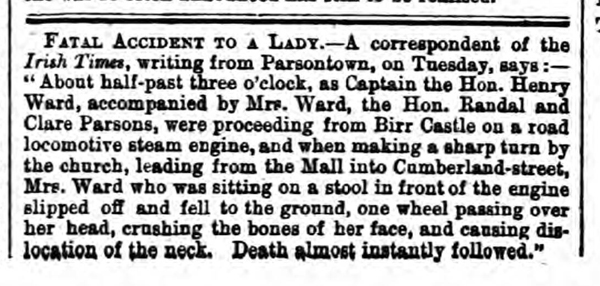 Historical newspaper report about Mary Ward - the First Fatality in a Car Accident in the UK and Ireland