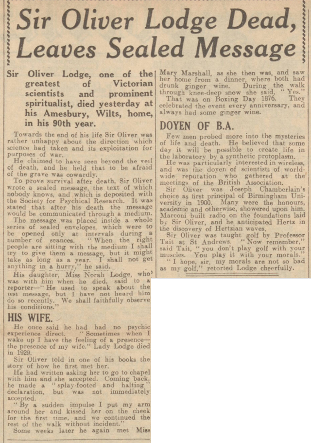 historical newspaper report on The Death of Oliver Lodge