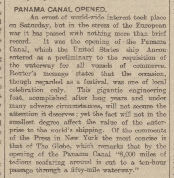historical newspaper report on the Opening of the Panama Canal
