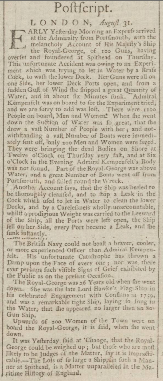 historical newspaper report on The Sinking of HMS Royal George - Spithead, 29 August 1782