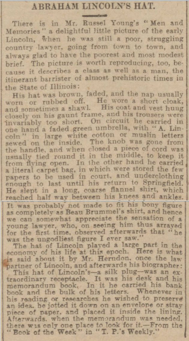 historical newspaper report on Abraham Lincoln's Hat