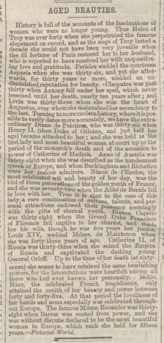 historical newspaper story about women over 30