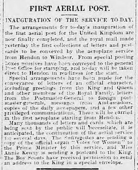 historical newspaper report on The First Official Airmail Service in the UK