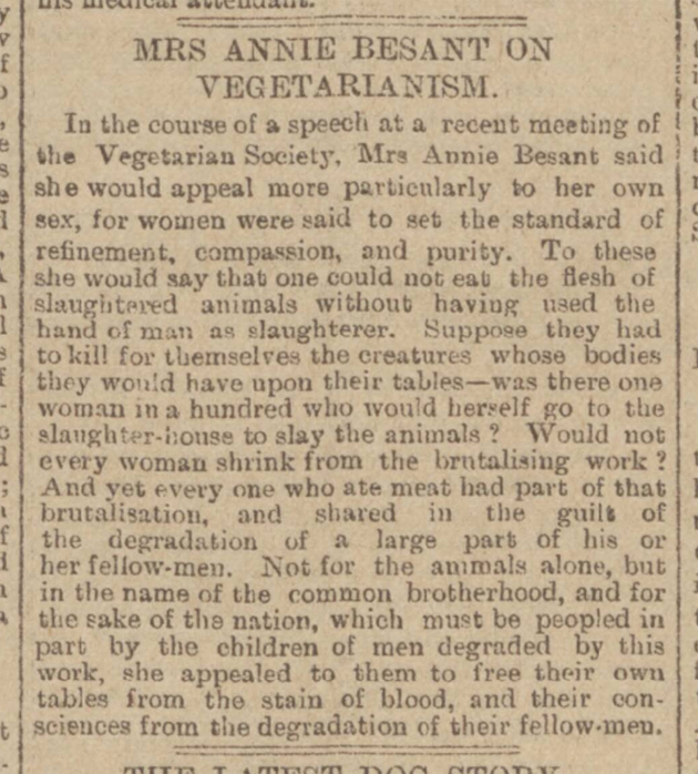 historical newspaper report on Annie Besant