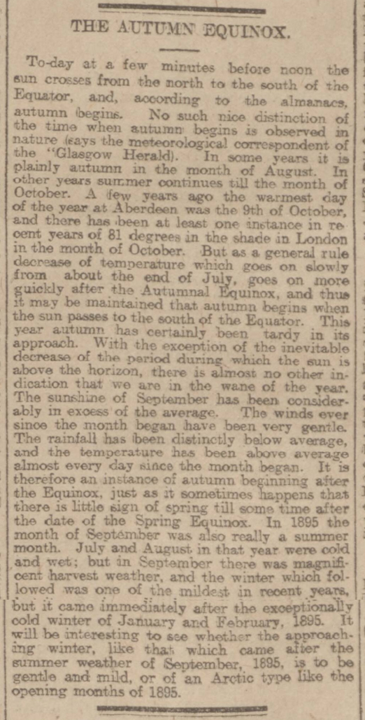 historical newspaper report on The Autumn Equinox