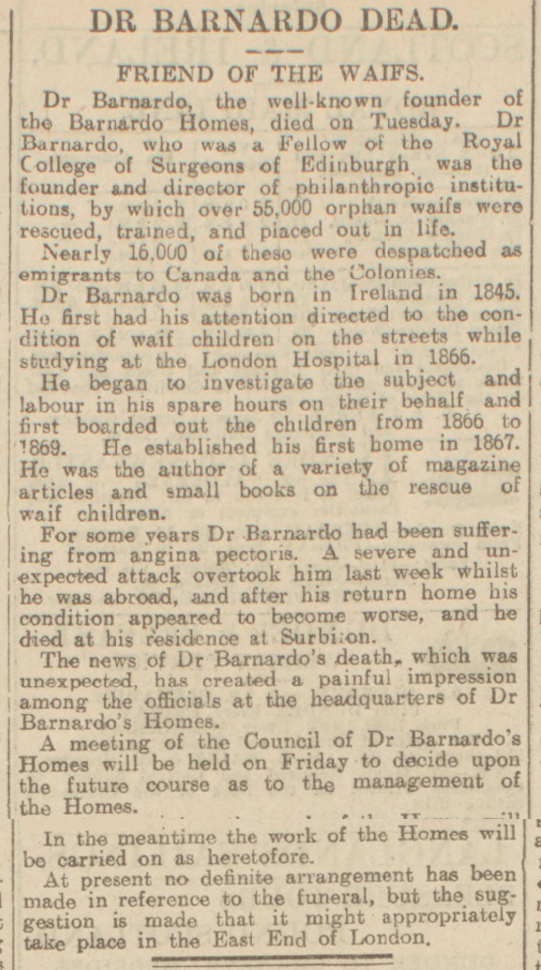 historical newspaper report on Thomas Barnardo