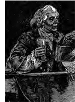 newspaper image of a beer drinker