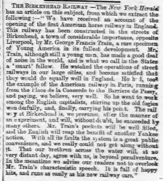 historical newspaper story about The Opening of the UK's First Tram Service - Birkenhead