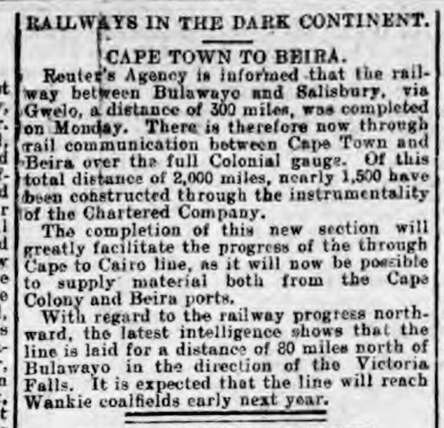 historical newspaper report on The Completion of the Cape Town to Breita Railway
