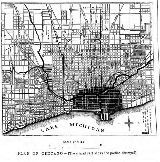 historical newspaper report on teh Great Fire of Chicago