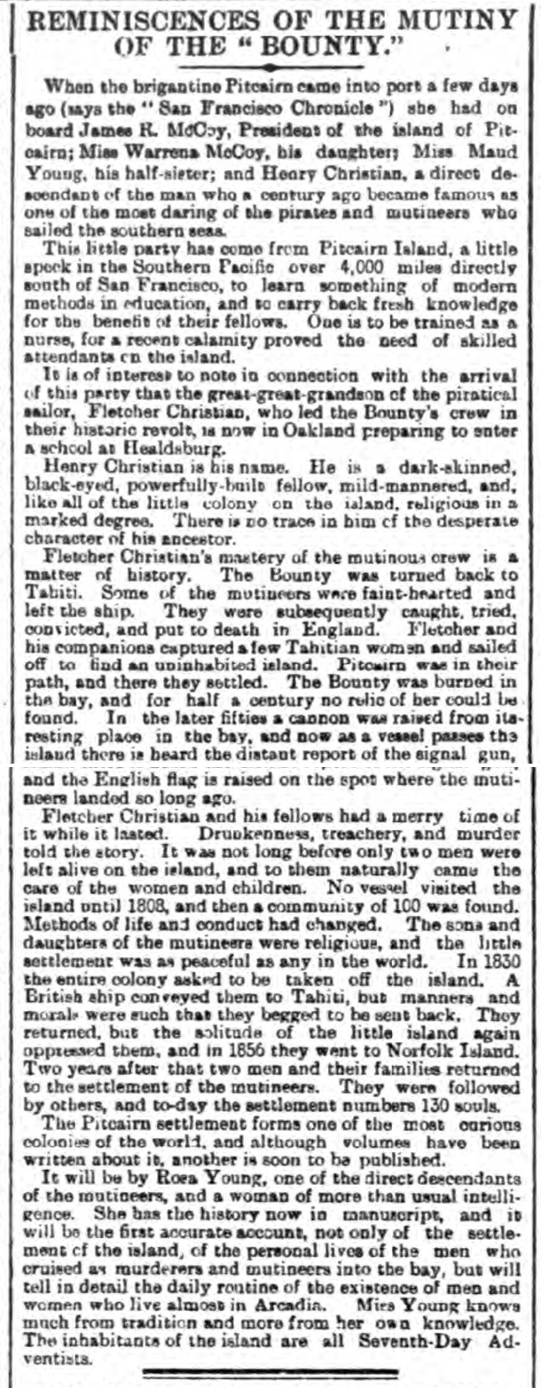 historical newspaper story about Fletcher Christian