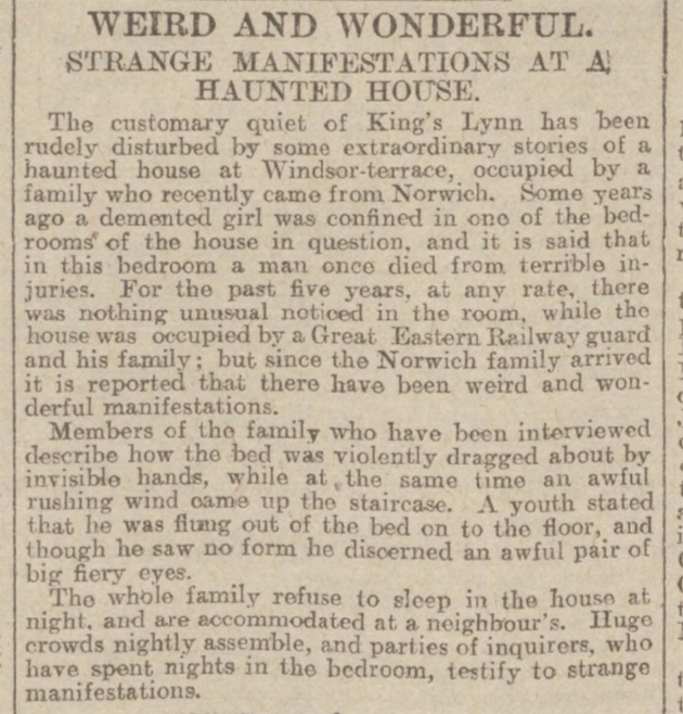 historical newspaper report on haunted house