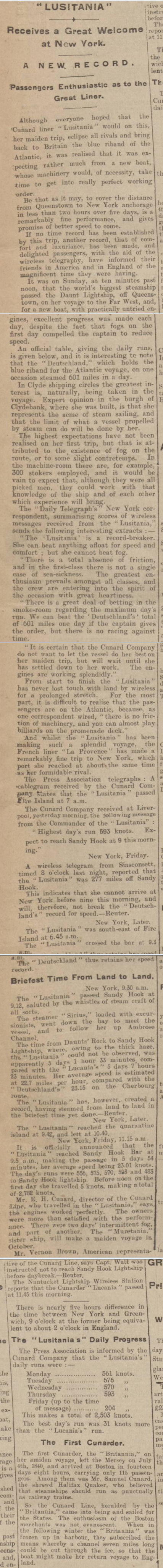 historical newspaper report on RMS Lusitania