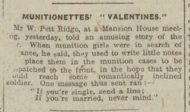 historical newspaper report about The Valentine Notes Sent by Munitionettes During World War One