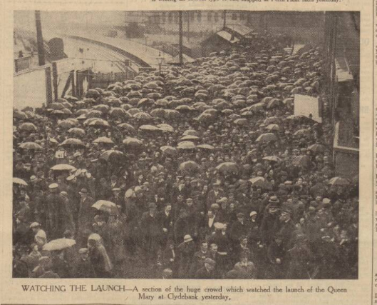 historical newspaper story about The Launch of the Queen Mary