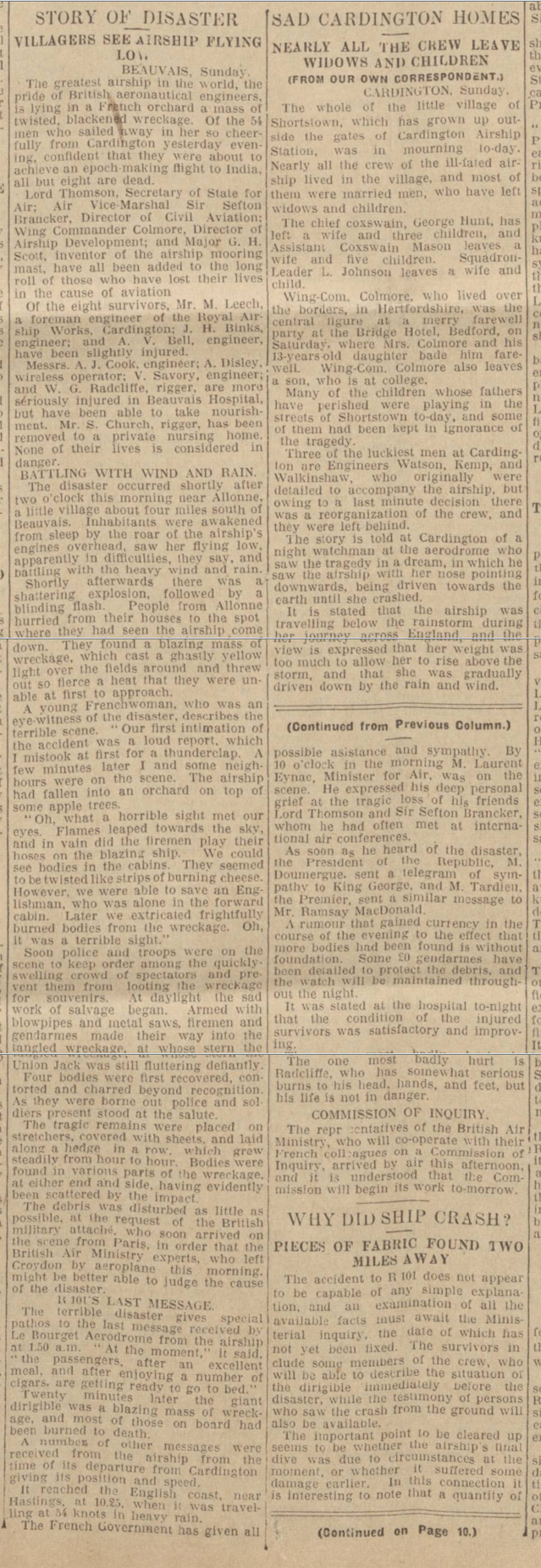 historical newspaper report on The R-101 Airship Disaster