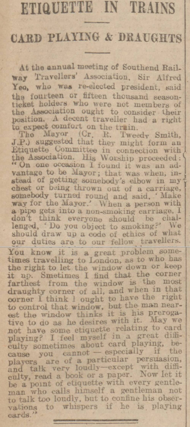 historical newspaper report on Etiquette in Trains