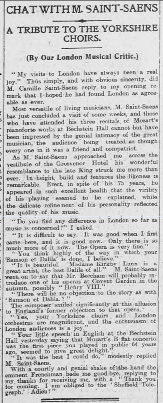historical newspaper report about saint-saens