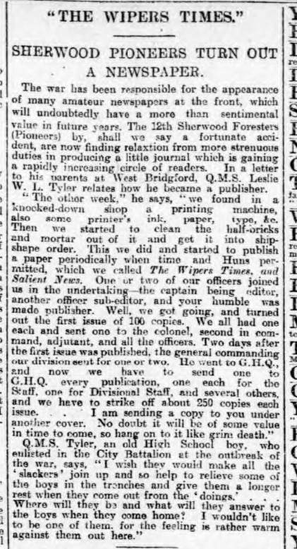 historical newspaper report on teh wipers times newspaper