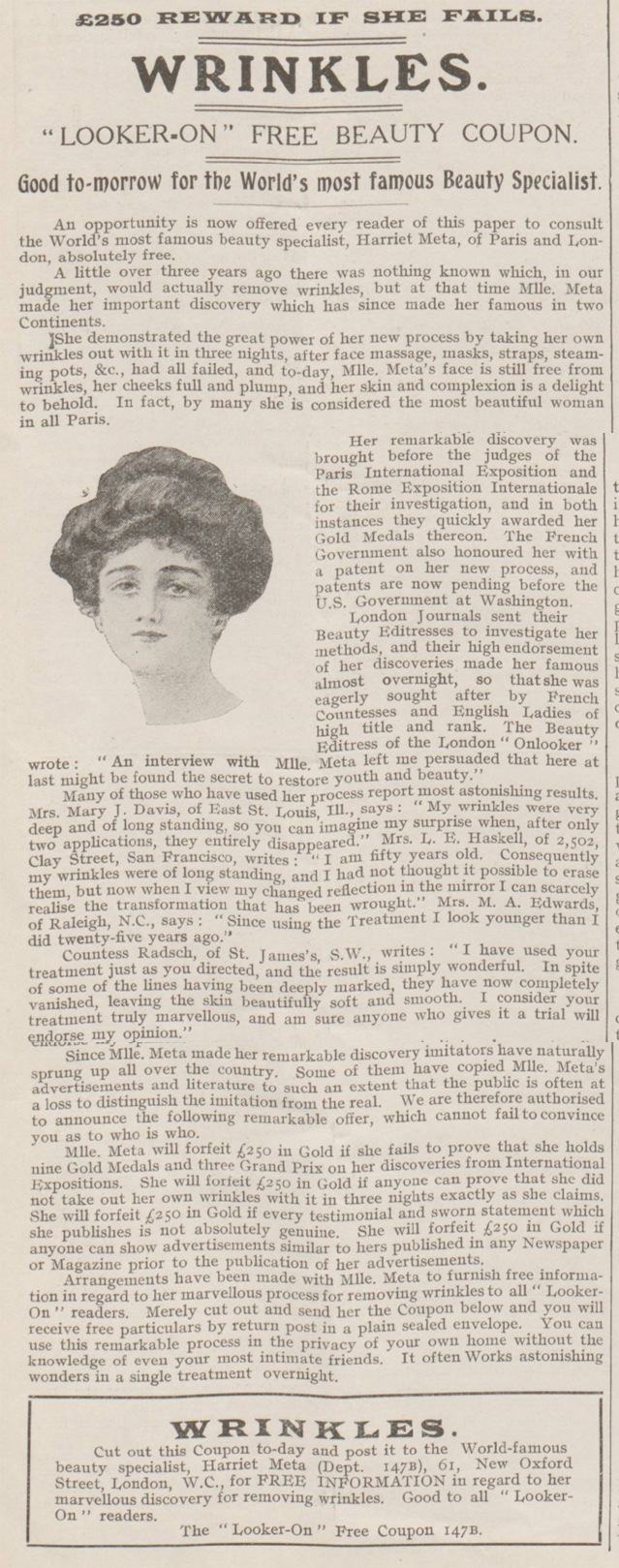 historical newspaper report on Women and Wrinkles
