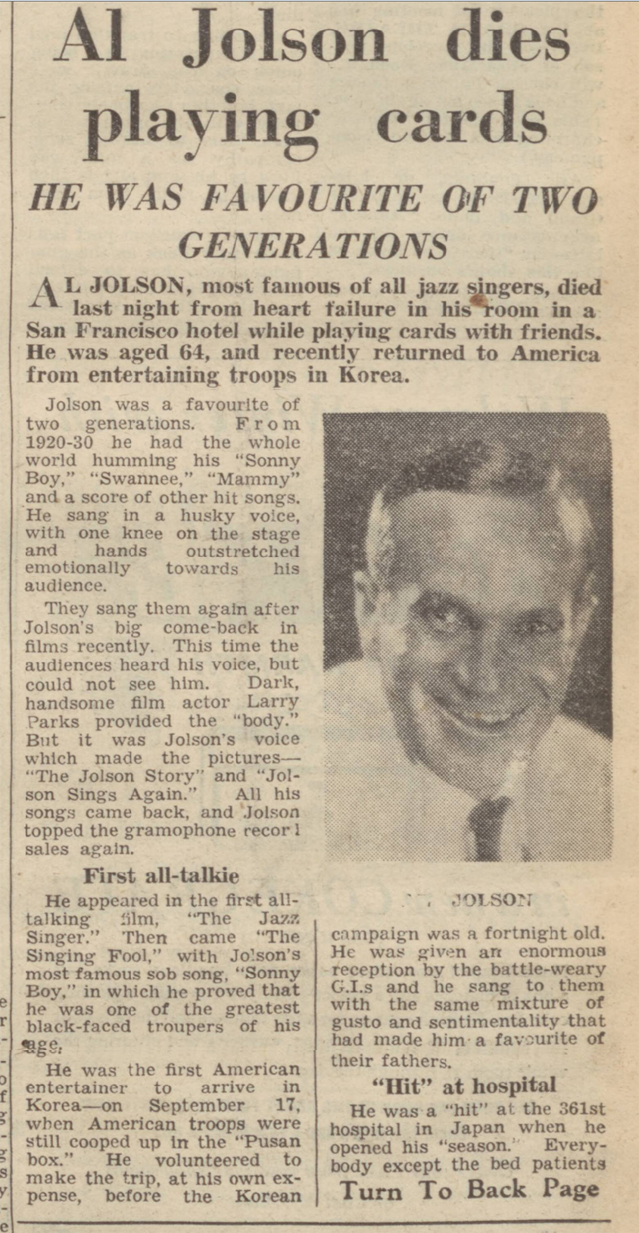 historical newspaper report on the death of al jolson