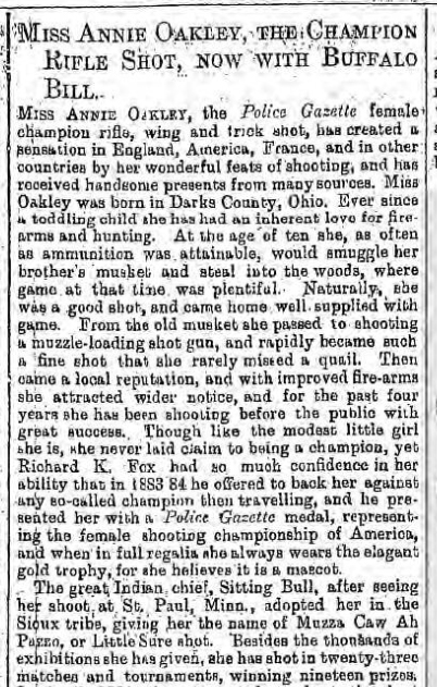 historical newspaper report about annie oakley