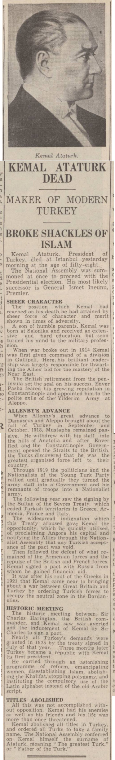 historical newspaper report on ataturk