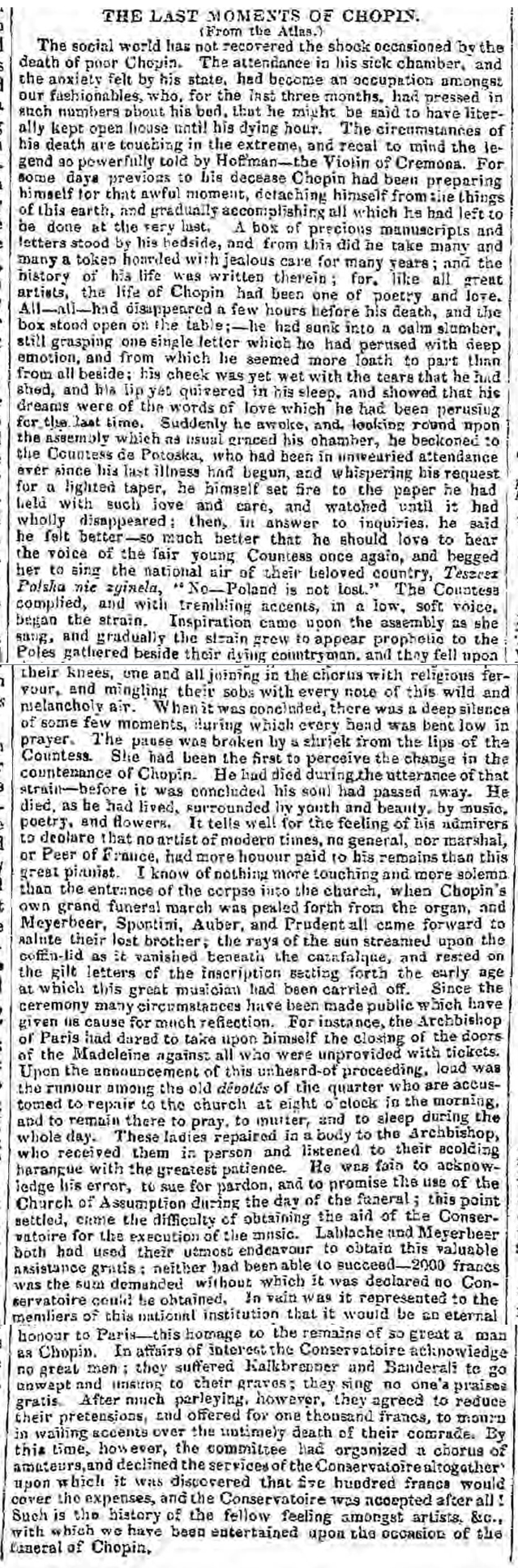 historical newspaper report on The Death of Chopin