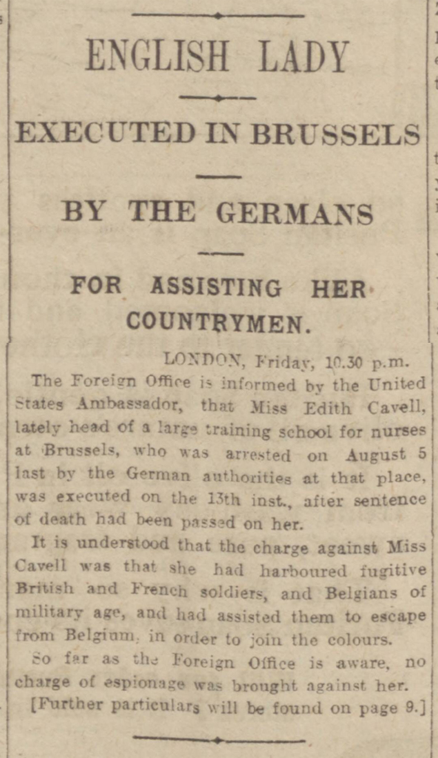 historical newspaper report about The Execution of Edith Cavell